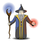 Vector illustration of an old wizard with a wood staff, doing magic