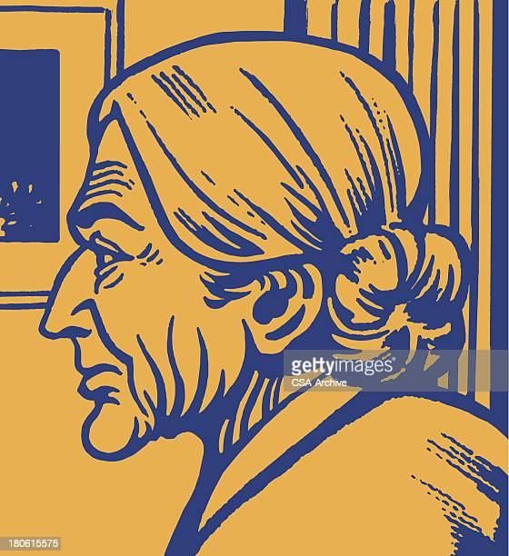 Alte Frau Seitenansicht