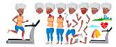 Old Woman Vector. Black. Afro American. Senior Person Portrait. Elderly People. Aged. Animation Creation Set. Face Emotions, Gestures. Active Grandparent Design Animated Cartoon Illustration
