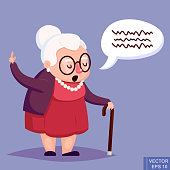 Old woman with cane. Senior lady with glasses talking. Vector illustration.