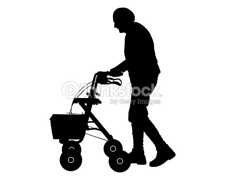 Old Woman With Walking Frame Vector Art | Thinkstock