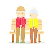 Older couple sitting on bench, Happy old man sitting with old lady on bench outdoor, Old man talking to old lady and smiling, The love of older couple, Long love of men / women,Couple are love to long