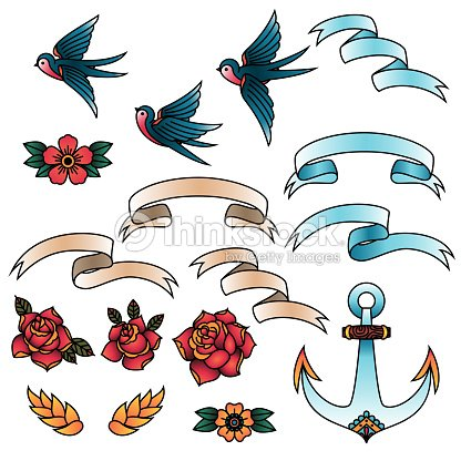 7f675e274 Oldschool Traditional Tattoo Vector Elements. Birds, flowers, ribbons.