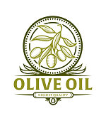 Stylized olive branch icon in frame with leaves for olive oil label, vector emblem with replaceable text part