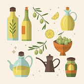 Olive oil bottles flat icon design. Vector illustration