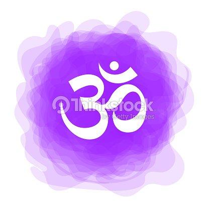 Om Zeichen Vektorsakrale Symbol Lila Rauchigen Kreis Symbol
