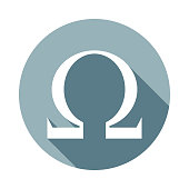 Omega sign icon in Flat long shadow style. One of web collection icon can be used for UI, UX on white background