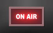 On air studio broadcast  light sign on wall