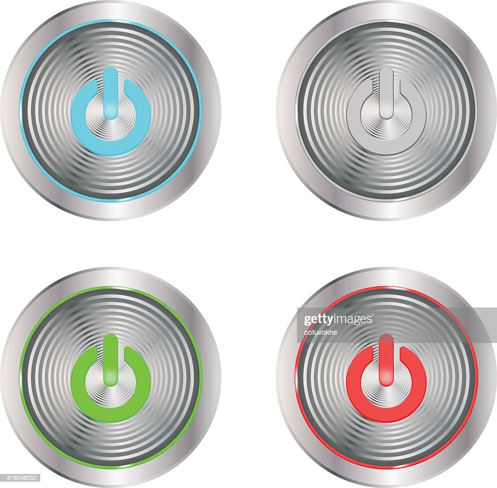 on buttons silver : Vector Art