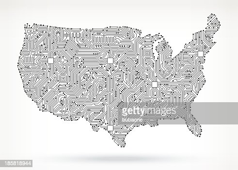 Usa Map Circuit Board Royalty Free Vector Art Background Vector - Us circuit map