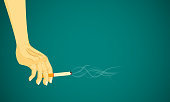 on top hand holding cigarette smoke floating in the air. dangerous to health kid other people. vector illustration eps10