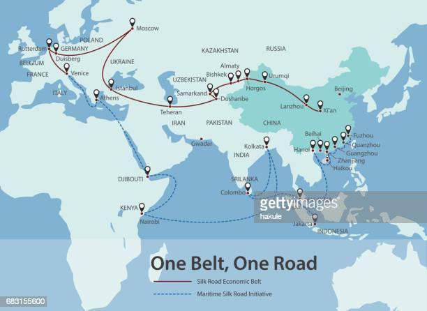 Ein Gürtel, eine Straße, chinesische strategische Investition in das 21. Jahrhundert-Karte