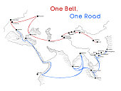 'One Belt One Road' new Silk Road concept. 21st-century connectivity and cooperation between Eurasian countries. Vector illustration.