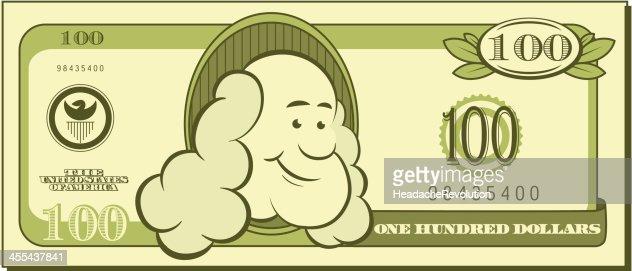 One Hundred Dollar Bill Cartoon Vector Art
