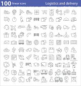 One hundred linear icons for transportation, logistics and delivery infographics and web design
