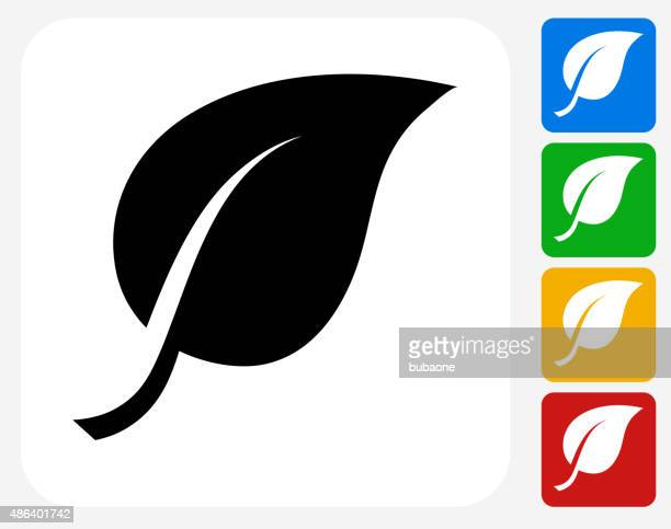 One Leaf Icon Flat Graphic Design