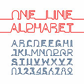 One single continuous line alphabet and numbers. Vector illustration with transparent effect, eps 10.