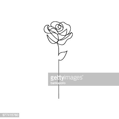 One line rose design. Hand drawn minimalism style : stock vector