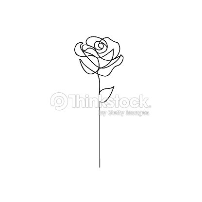 One line rose design. Hand drawn minimalism style : arte vetorial