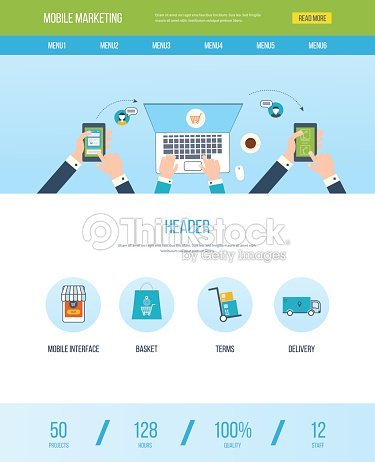 One Page Web Design Template With Icons Of Mobile Marketing Vector Art