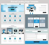 Material design responsive landing page or one page website template with blurred header