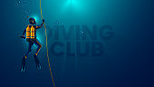 One scuba diver underwater. Back view. Diver look on big logo diving club underwater. Diver dives to the bottom of the sea, holding the rope, The sun's rays underwater. Scuba diving background.