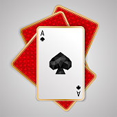One spades ace in four playing cards on grey background. Winning poker hand. JPG include isolated path