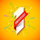 One year anniversary celebration card design, vector illustration