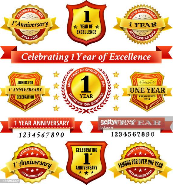 one year anniversary royalty free vector background with golden badges