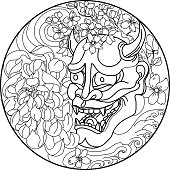 Hand drawn and Asian tattoo design,Oni mask with Sakura and Peony flower in circle