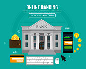 Online banking concept. Money transaction, business, finance, banking and payment. Vector illustration. Flat design. EPS10.
