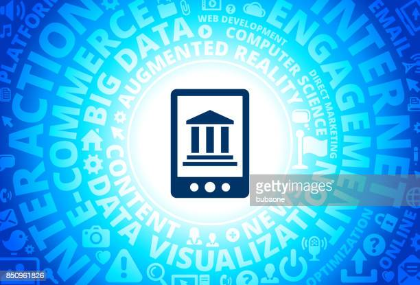 Online Banking Icon on Internet Modern Technology Words Background