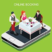 Online booking reservation concept. 3D flat isometric people elements online reserved table in restaurant.