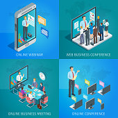 Set of isometric banners on theme online business conference. Online webinar. People listen to the lecturer. Isometric concept. Highly detailed illustration
