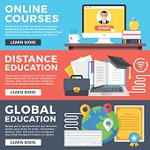 Online courses, distance education, global education flat illustration concepts set. Flat design graphic for web sites, web banners, printed materials, templates, infographics. Vector illustrations