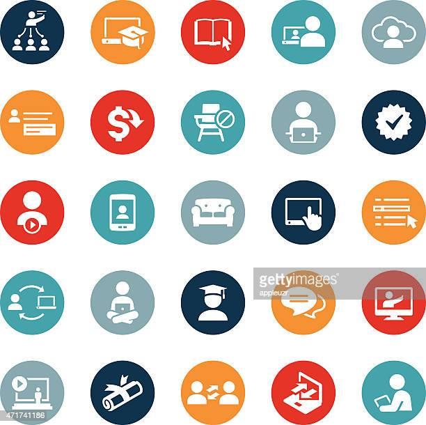 Iconos de la Educación y aprendizaje en línea