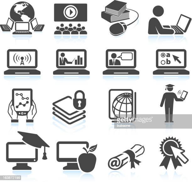 Educación en línea & blanco negro sin royalties de conjunto de iconos vectoriales
