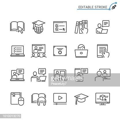 Online-Bildung Zeile Symbole. Editierbare Schlaganfall. Pixel perfekt. : Vektorgrafik