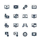 Online education, tutorials and webinars vector icon set