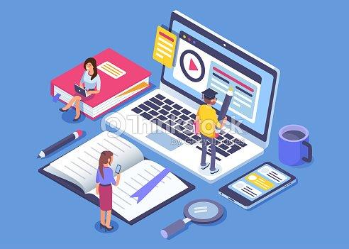 Éducation en ligne : clipart vectoriel