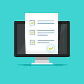 Online form survey on pc computer vector illustration, flat cartoon monitor display showing quiz exam paper sheet document, concept of electronic voting on internet, web learning