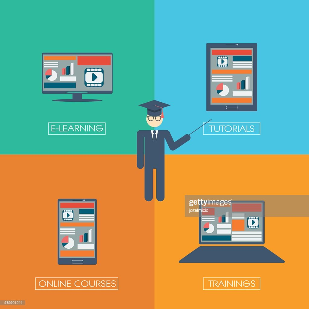 Online learning education infographic template with electronic technology devices and : Vector Art