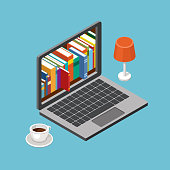 Online library concept, laptop with book shelves. Vector illustration