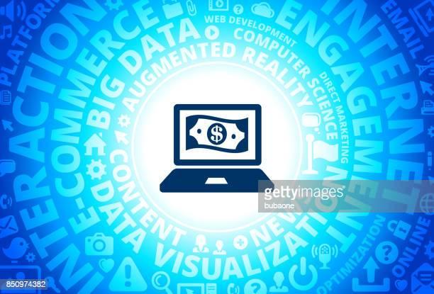 Online Money Icon on Internet Modern Technology Words Background