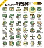 Online money transfer payment outline icons modern style for website or print illustration