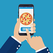 Online order pizza. Hand holding smartphone with pizza on the screen. Order fast food concept. Vector illustration in flat style