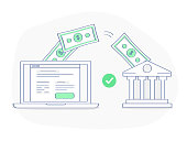 Online payment, banking or money transfer concept. After clicking the button on the site, money flies from the laptop directly to the bank. Flat outline vector element, premium quality illustration.