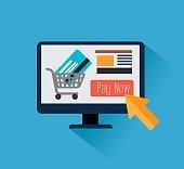 Online payments design over blue background, vector illustration.