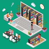 Online Reading Isometric View for Web and App Education Concept. Vector illustration
