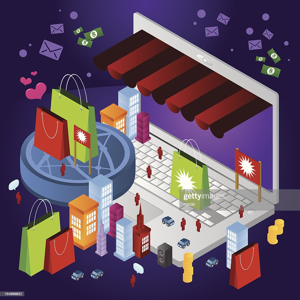 Online shopping city with laptop and money : Vector Art